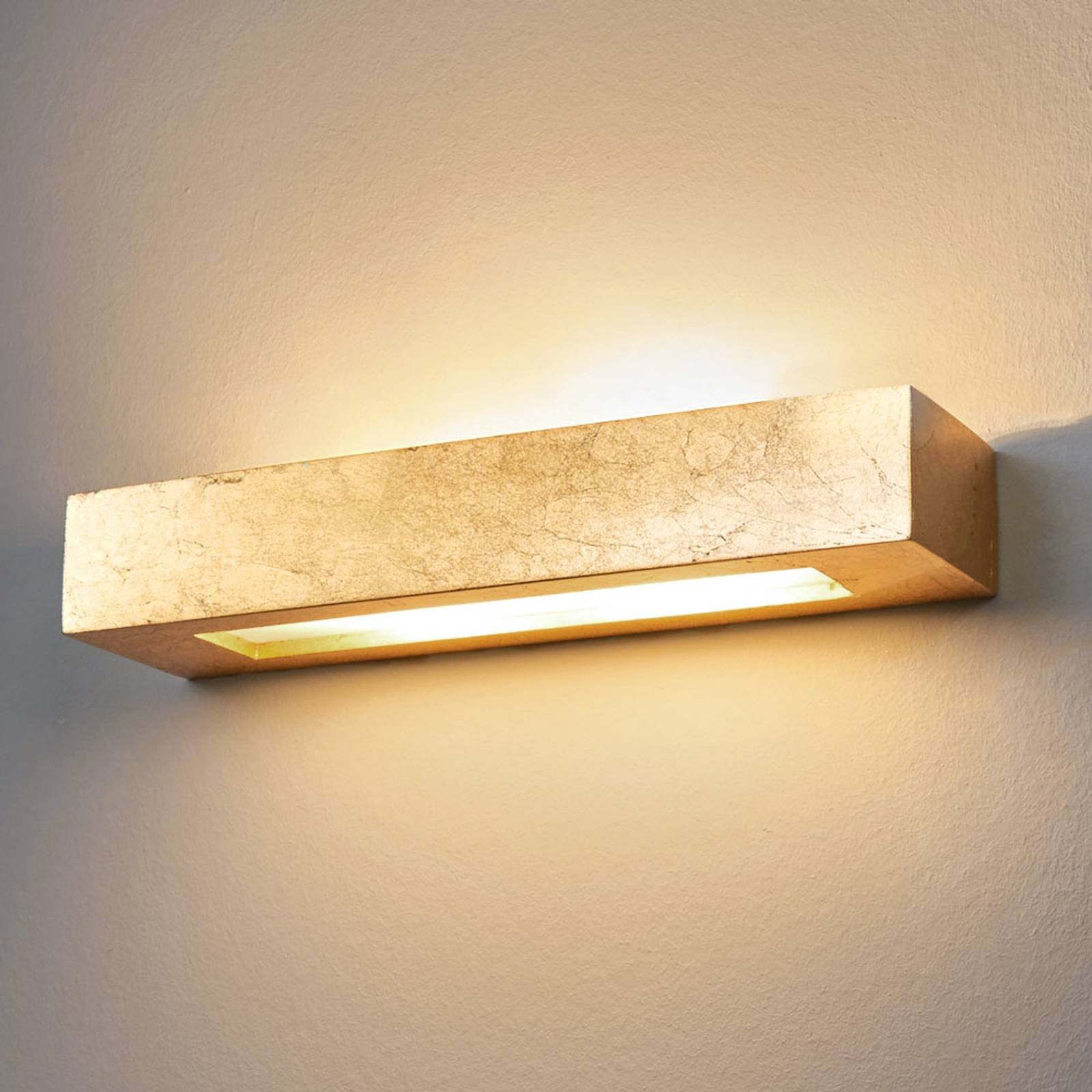 Angular plaster wall light Emina in gold from Lampenwelt.com