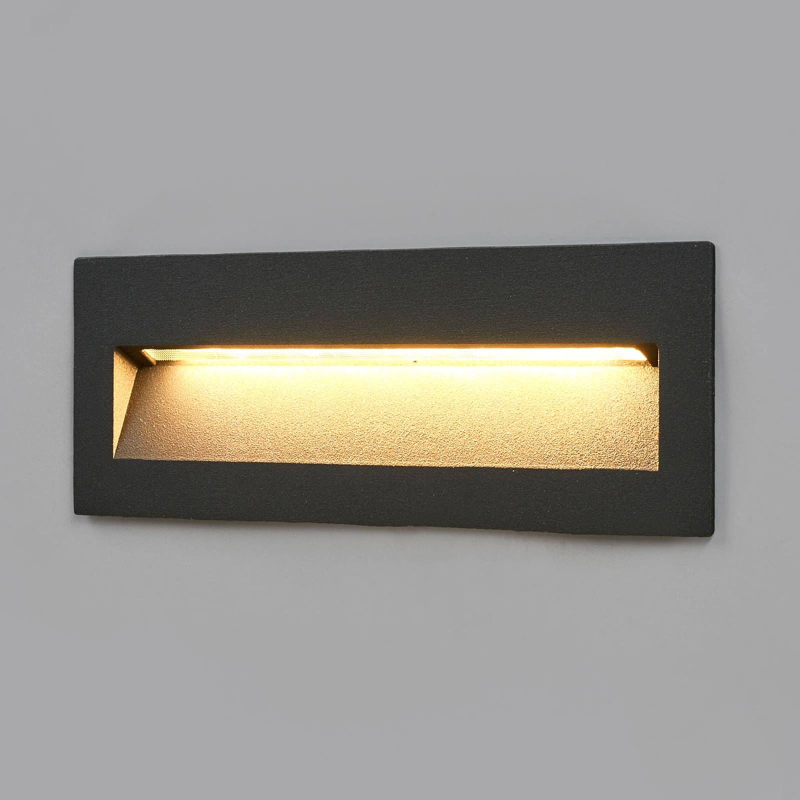 Dark LED recessed light Loya for outdoor walls from Lucande