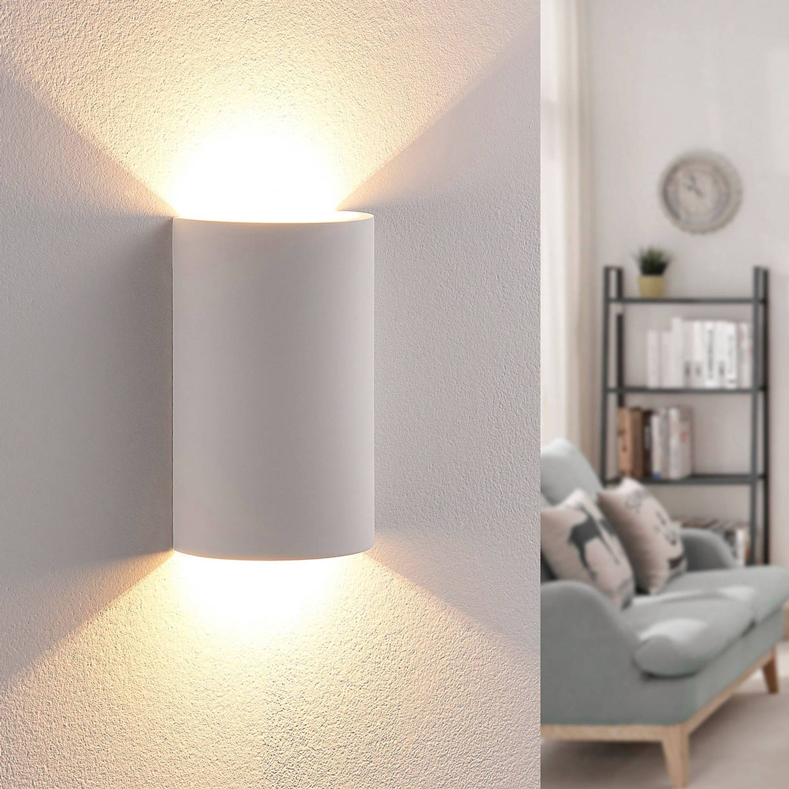 Effective LED plaster wall light Jenke from Lindby