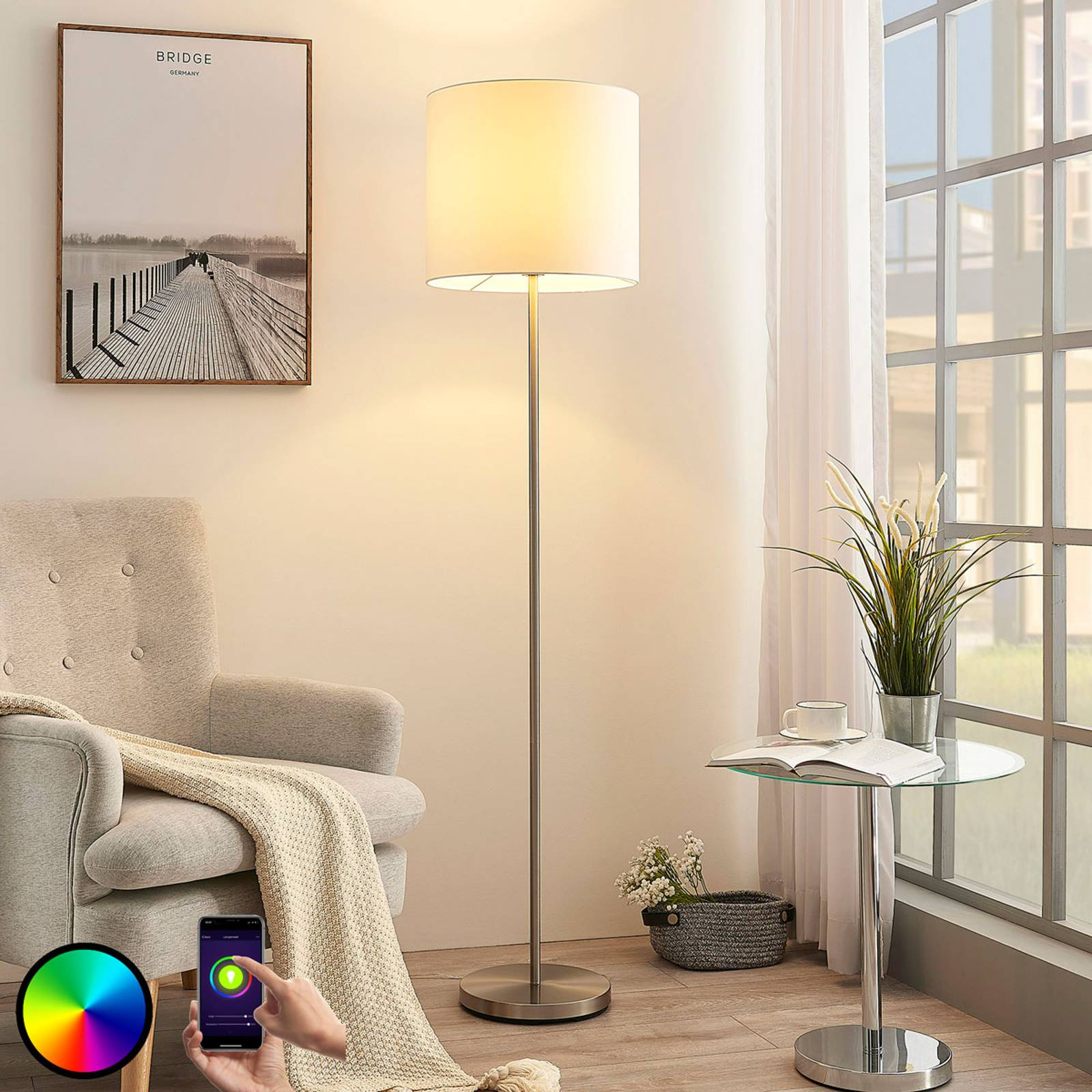Lindby Smart LED floor lamp Everly, app, RGB from Lindby