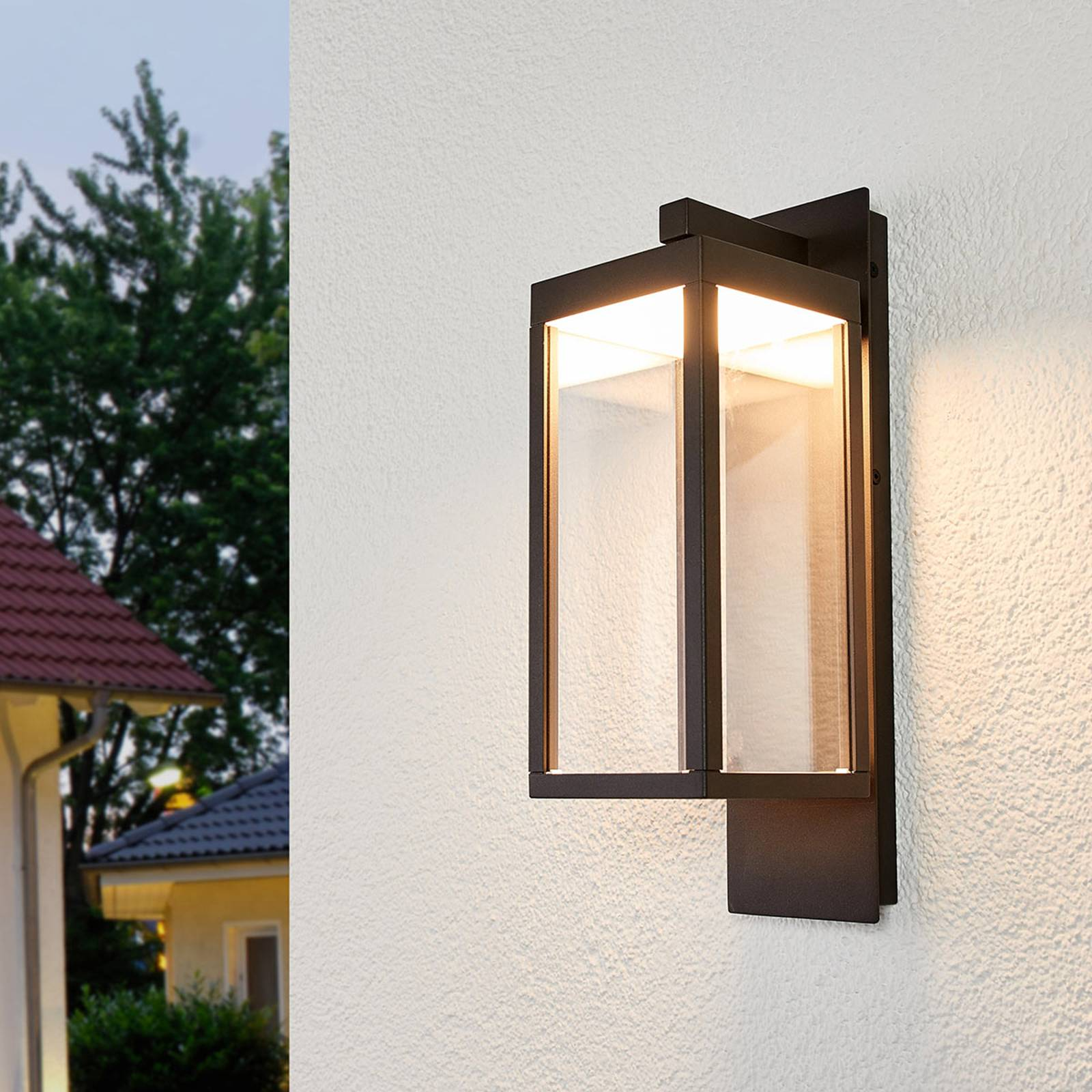 Lantern-shaped LED outdoor wall light Ferdinand from Lucande