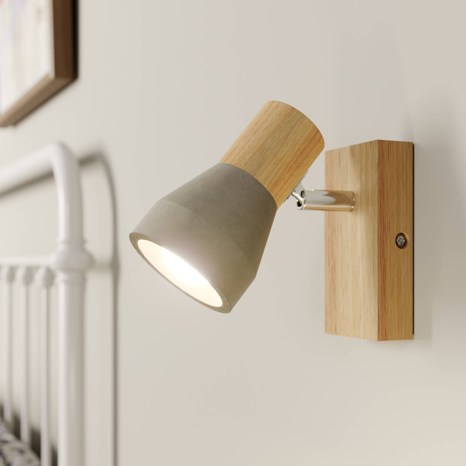 Filiz - LED spotlight made of wood and concrete from Lindby