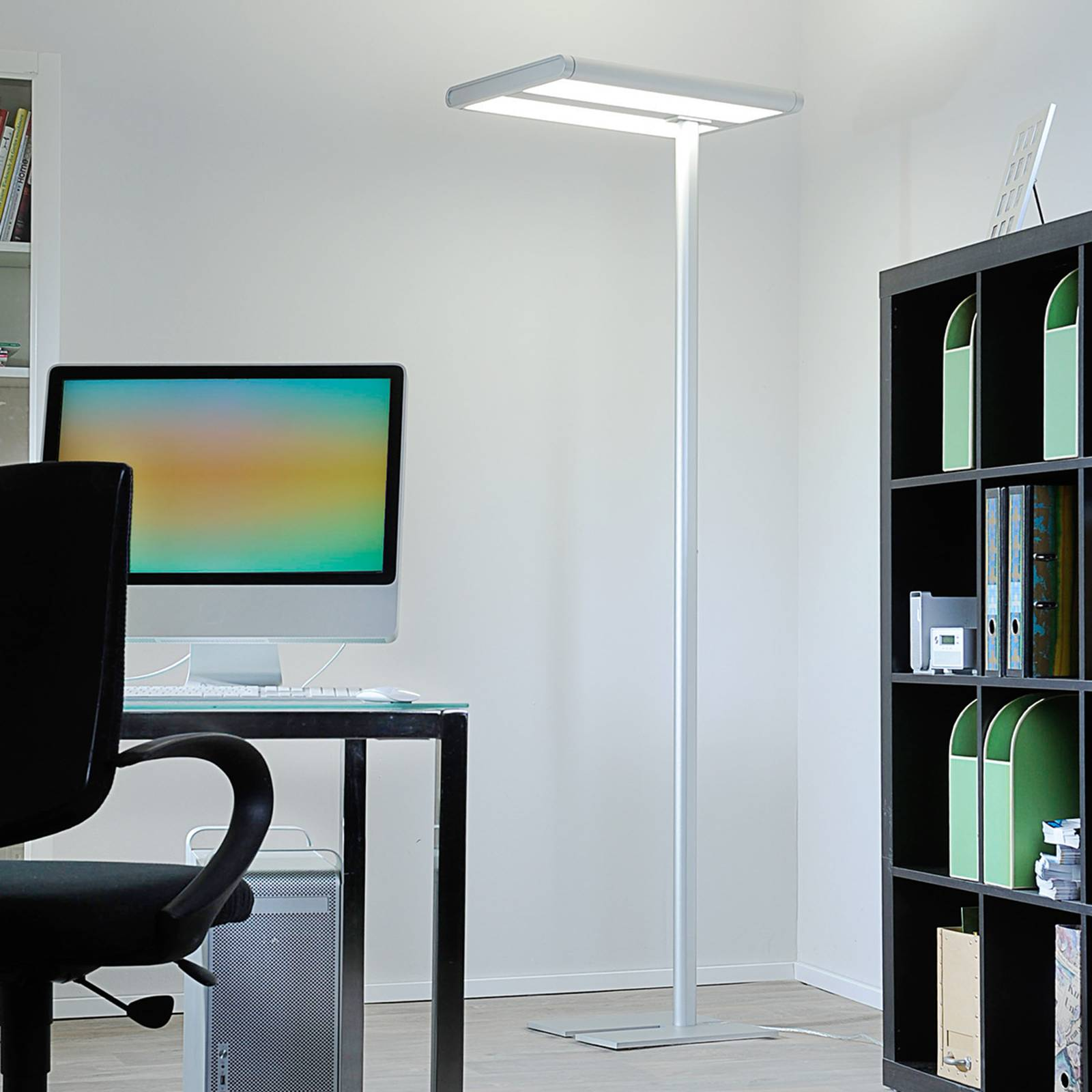 High-quality office floor lamp Quirin with LEDs from LAMPENWELT.COM