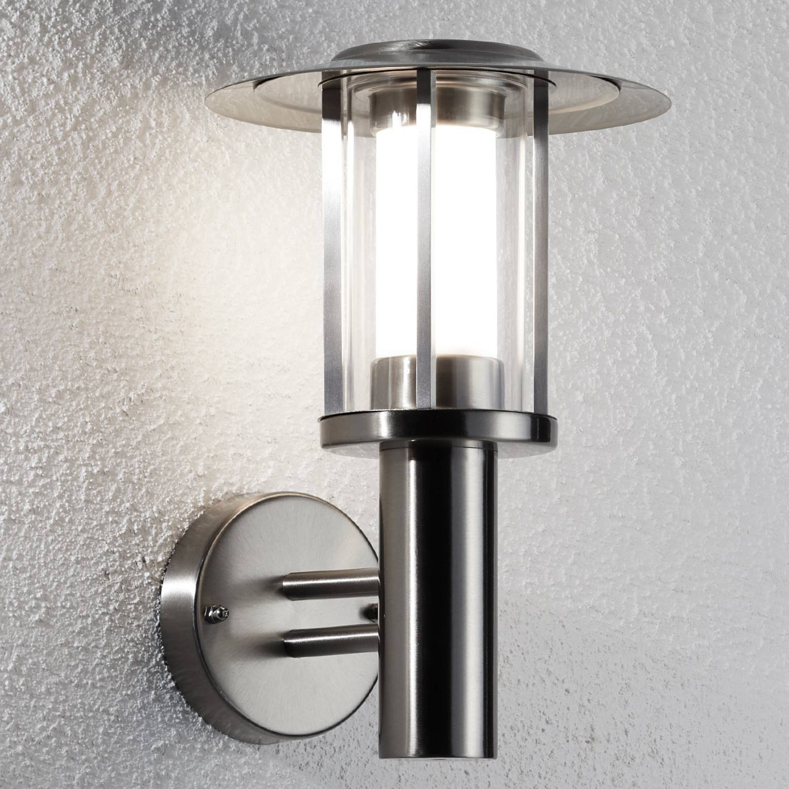 LED outdoor wall lamp Gregory stainless steel from Lindby