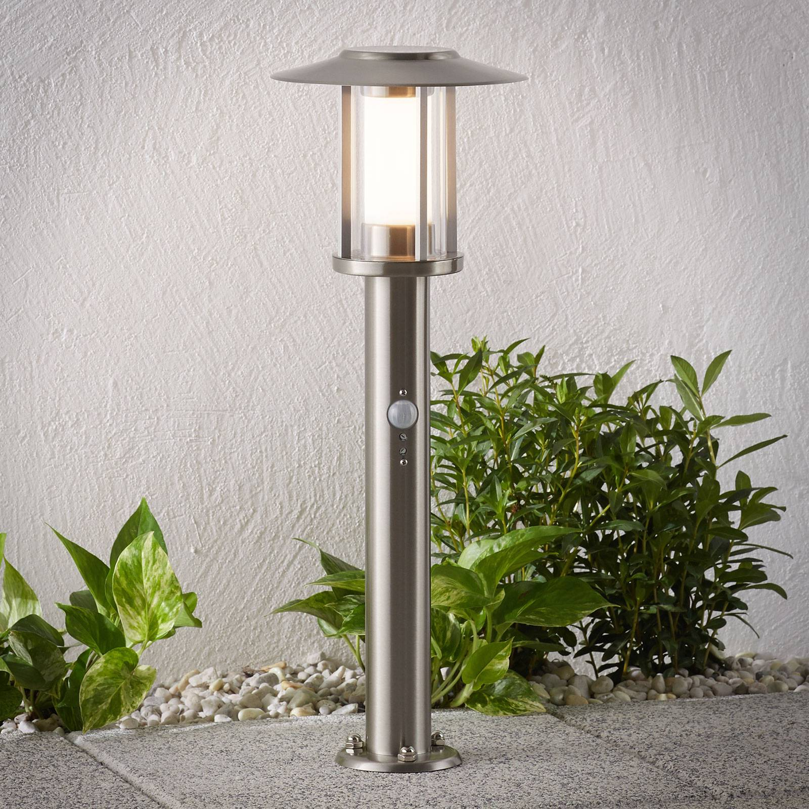 Gregory LED pillar lamp, stainless steel, sensor from Lindby