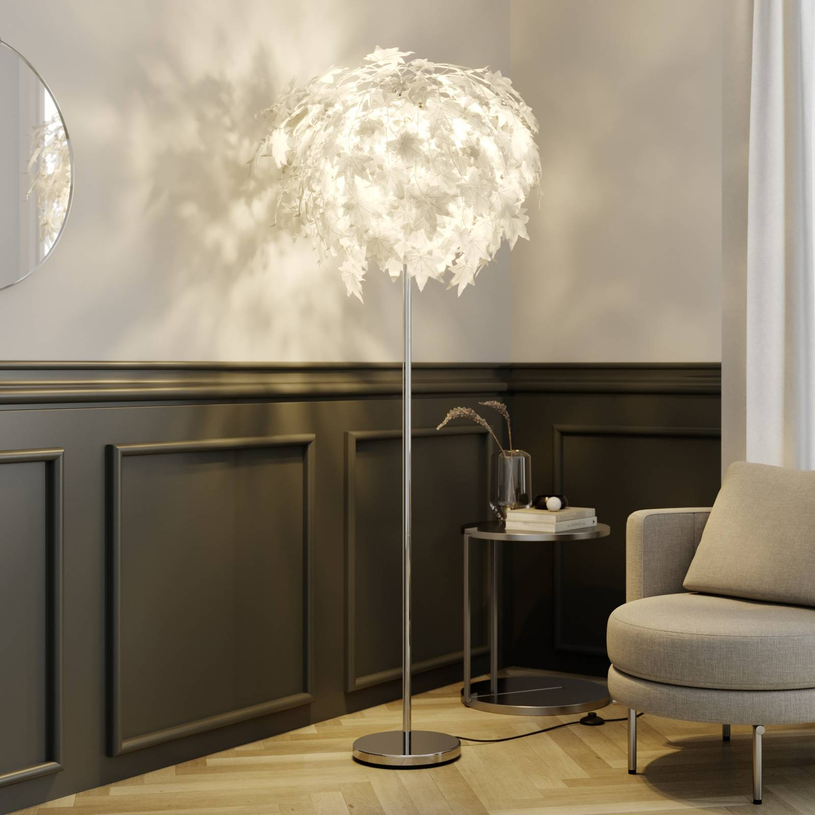 Maple - floor lamp with leaf decoration from Lindby