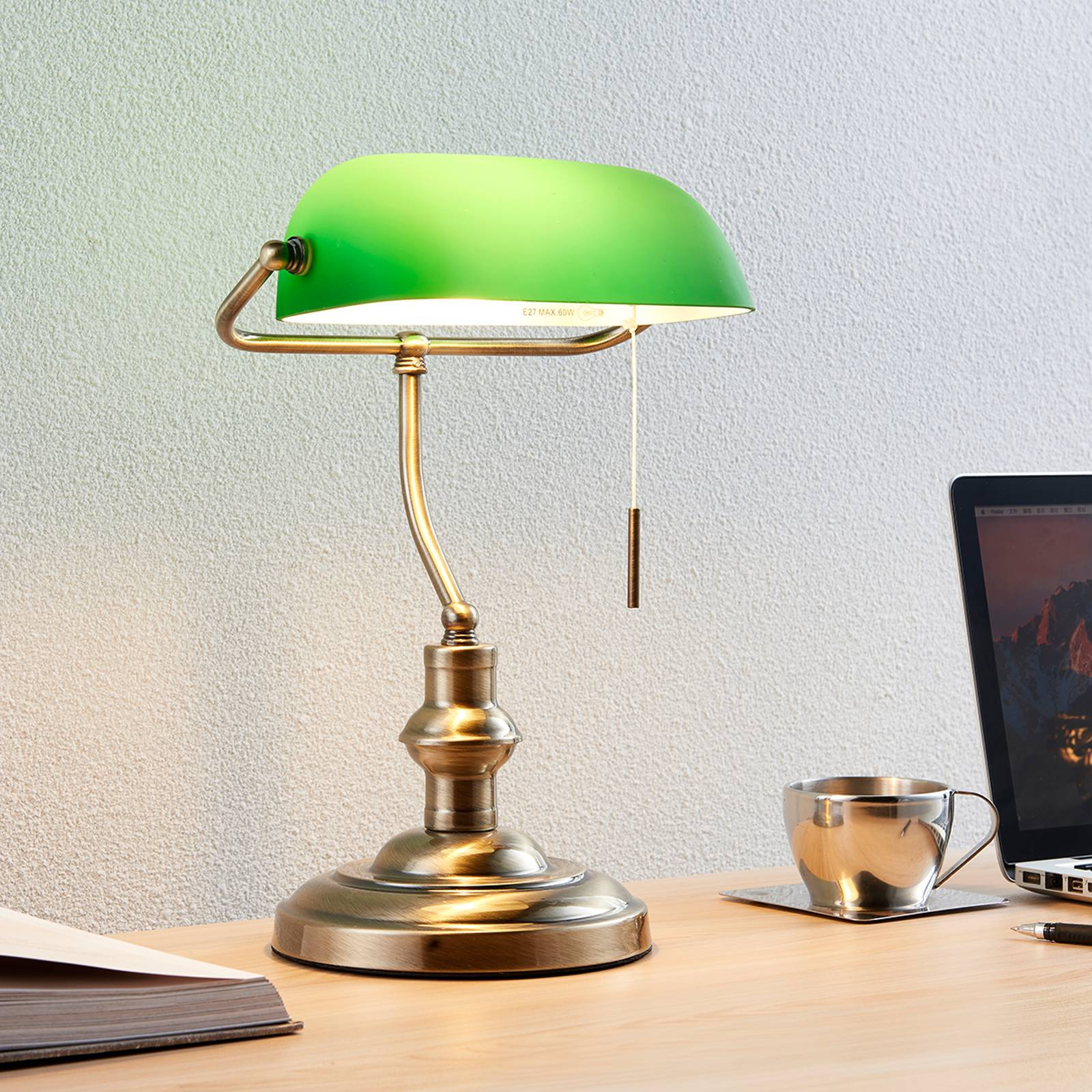 Milenka - desk lamp with green lampshade from Lindby