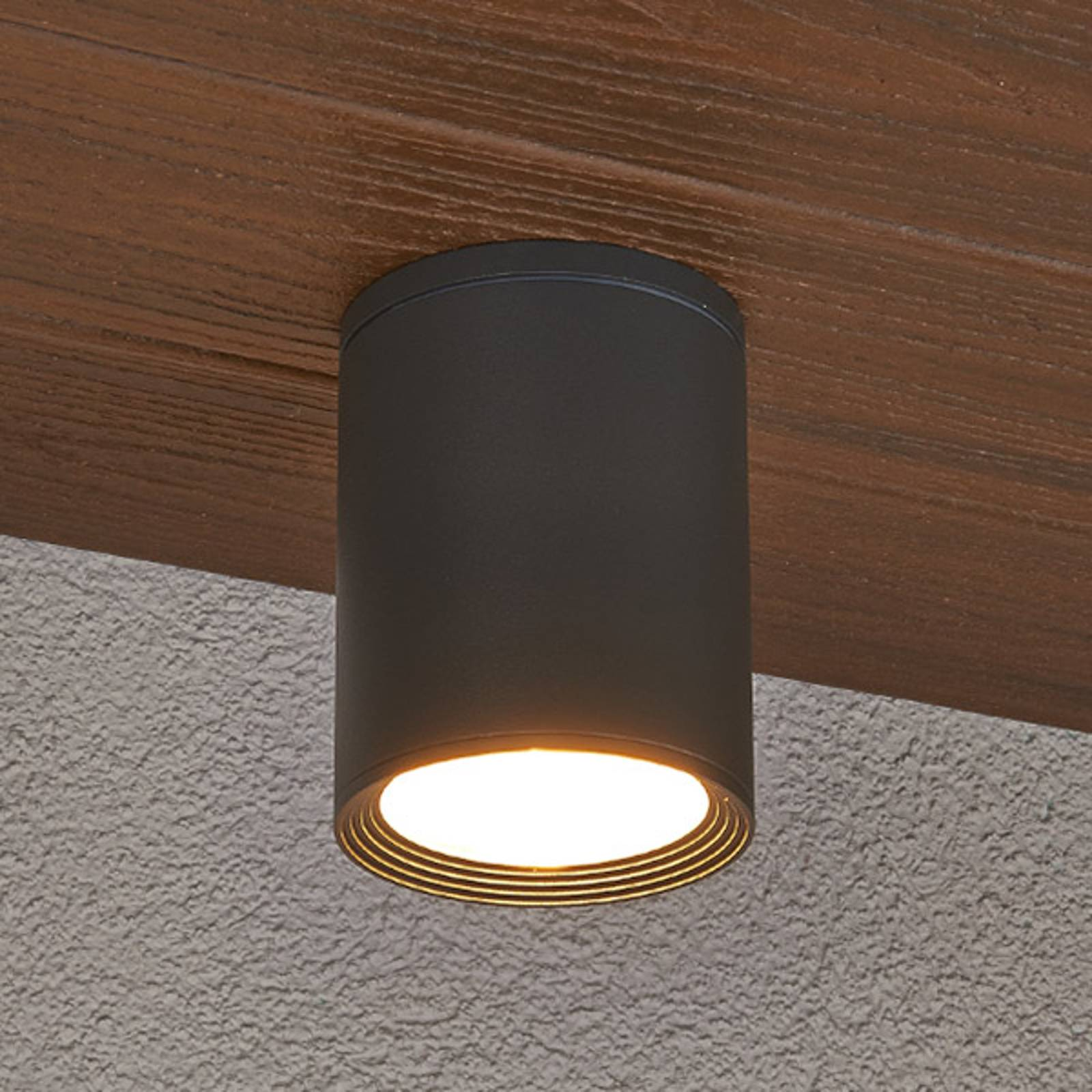 Minna dark grey ceiling light for outdoors from Lucande