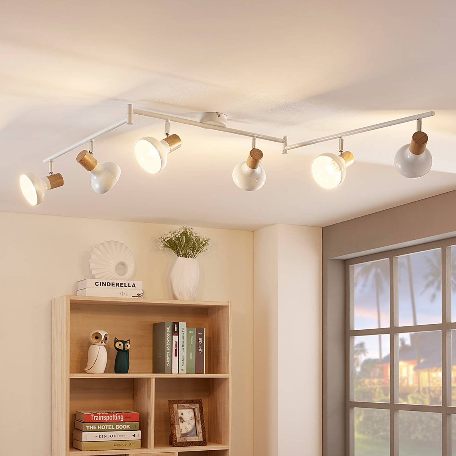 Six-bulb ceiling spotlight Fridolin in white from Lindby