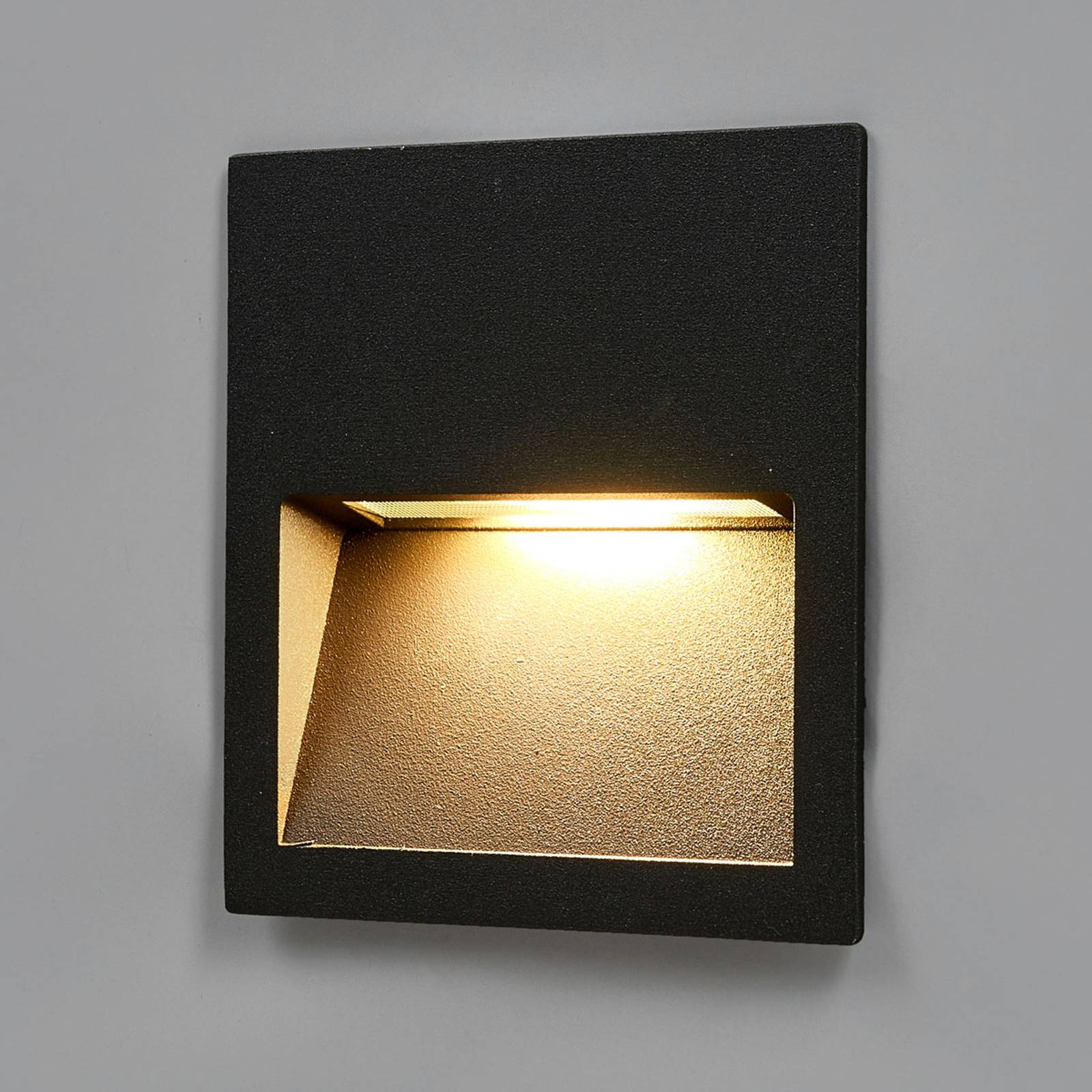 Square Loya LED recessed wall lamp for outdoors from Lucande