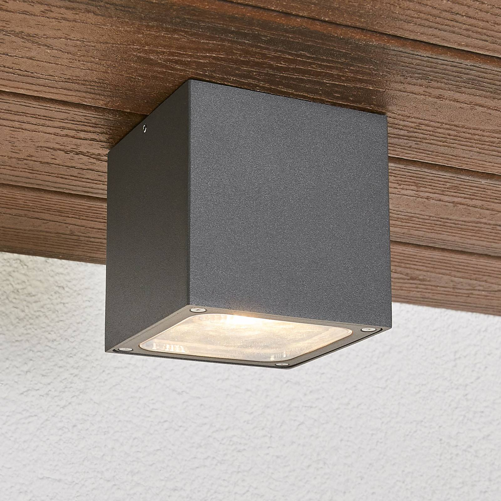 Tanea - cube-shaped LED ceiling light, IP54 from Lampenwelt.com