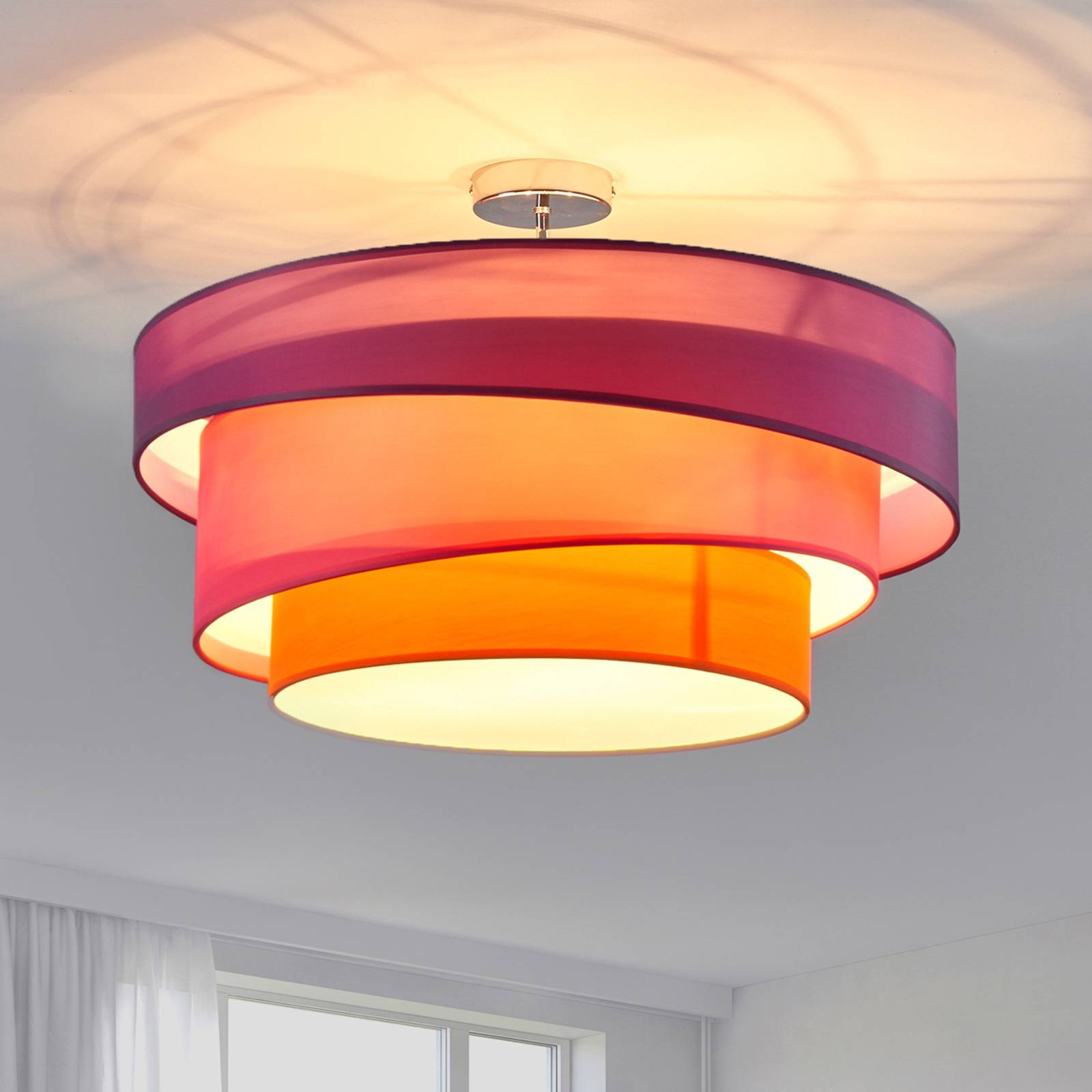 Three-coloured ceiling light Melia, violet & pink from Lindby
