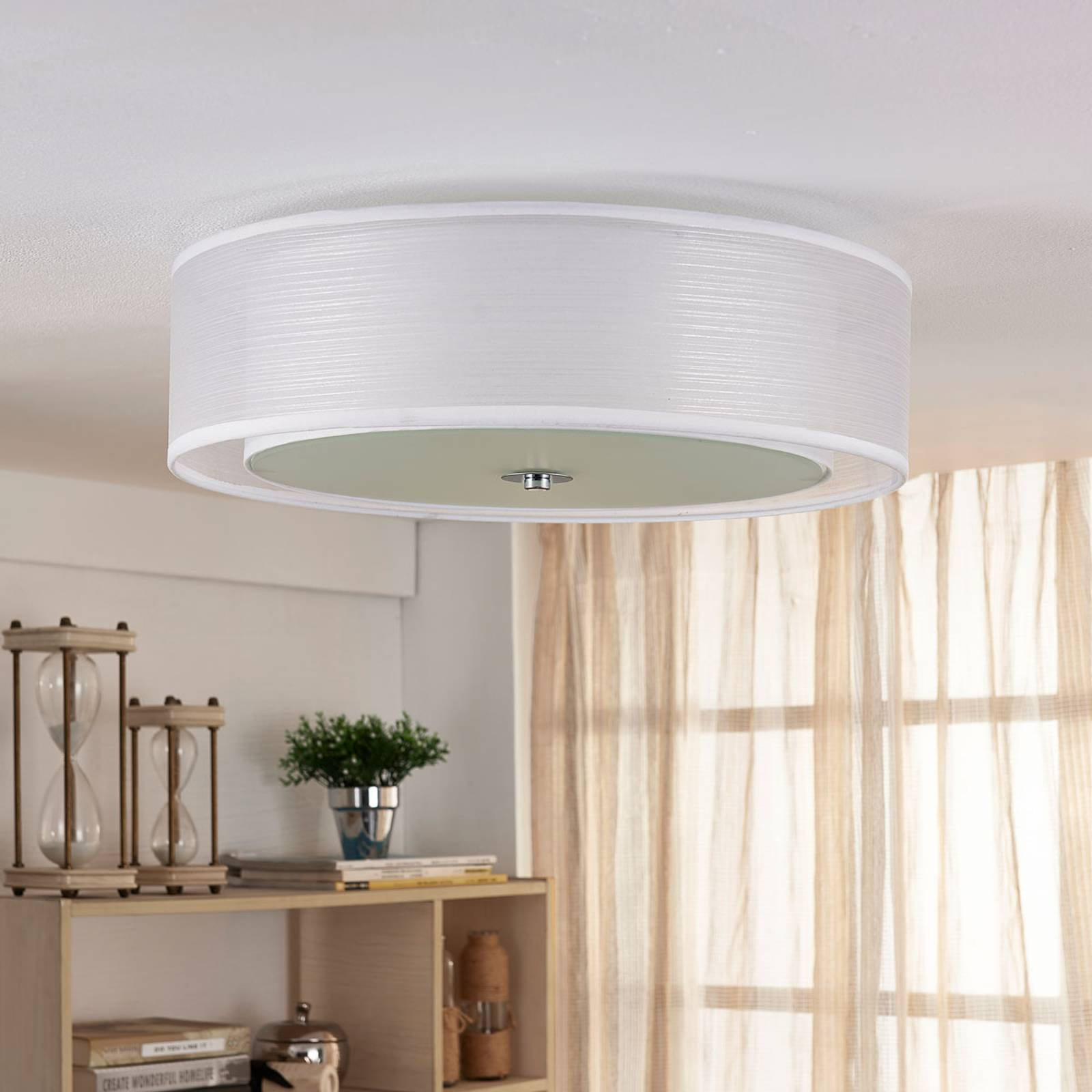 Tobia - Easydim LED ceiling light, white fabric from Lindby