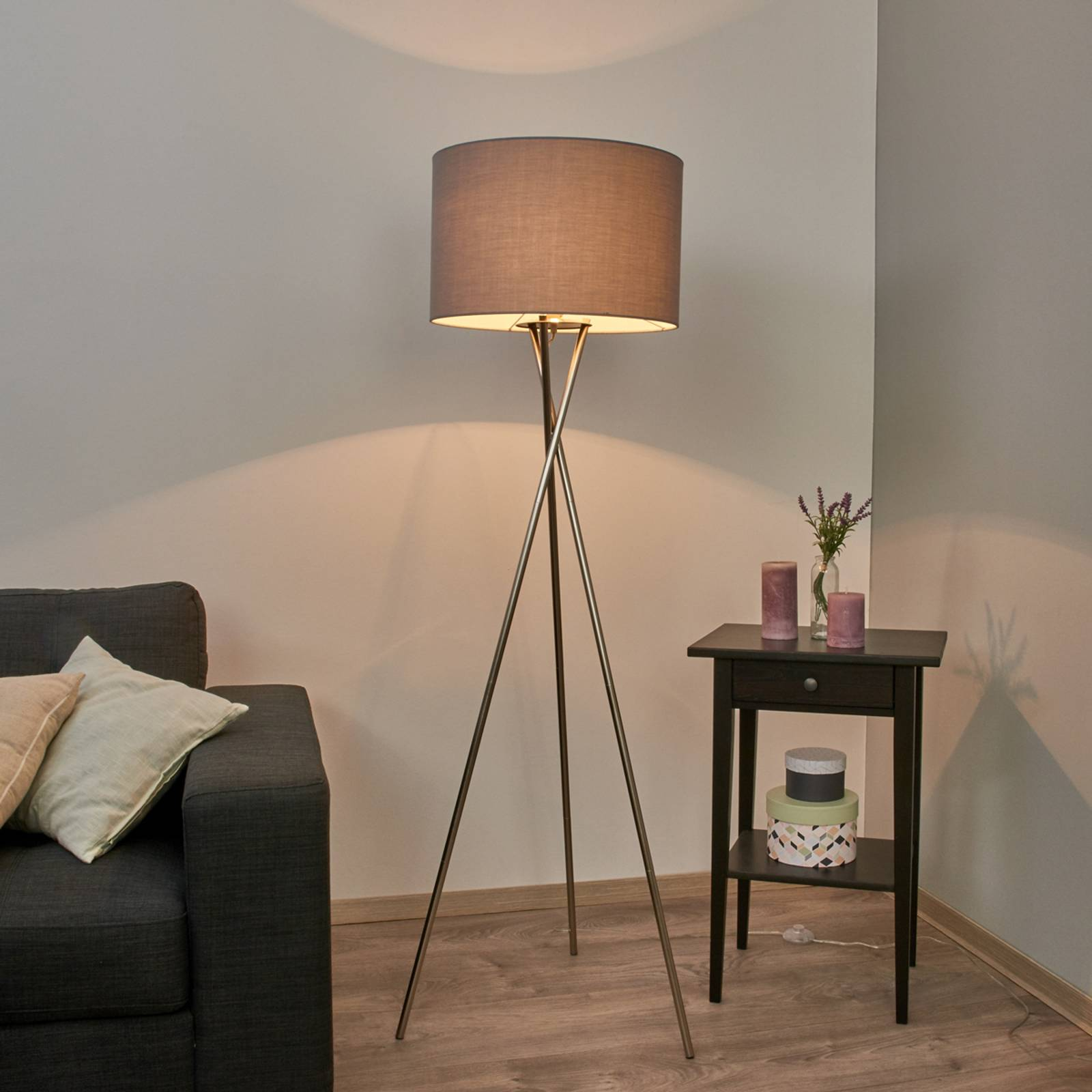 Tripod floor lamp with grey lampshade from Lindby