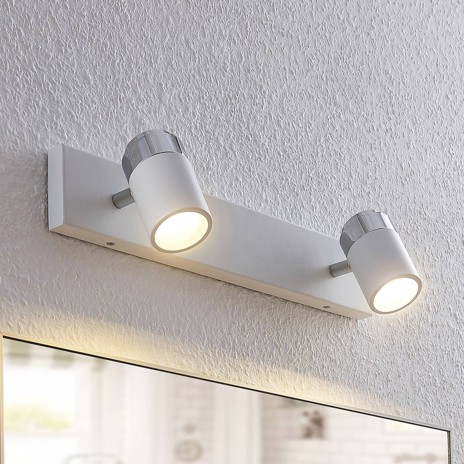 Two-bulb wall and ceiling spotlight Kardo, IP44 from Lindby