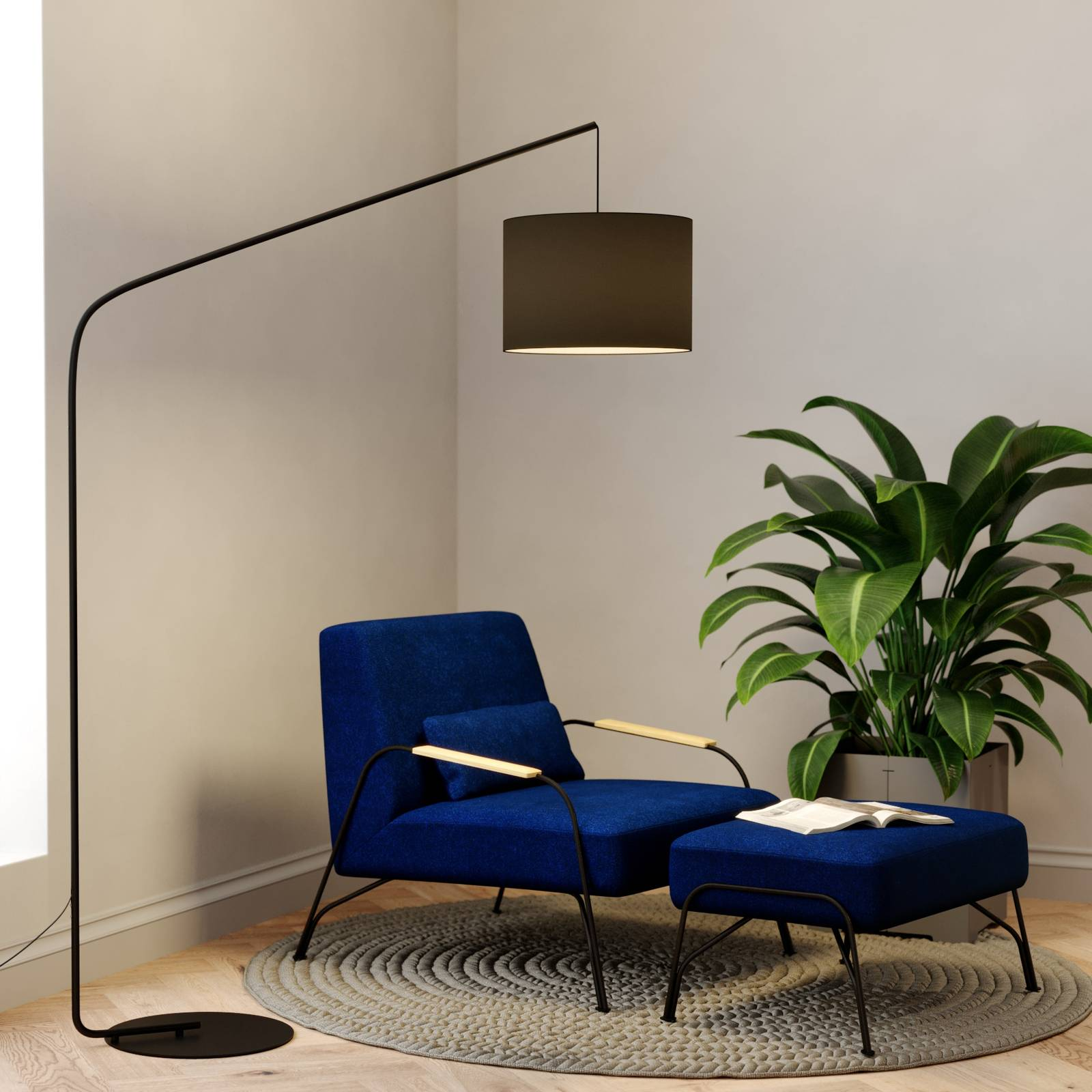 Viskan black floor arc lamp with fabric shade from Lindby
