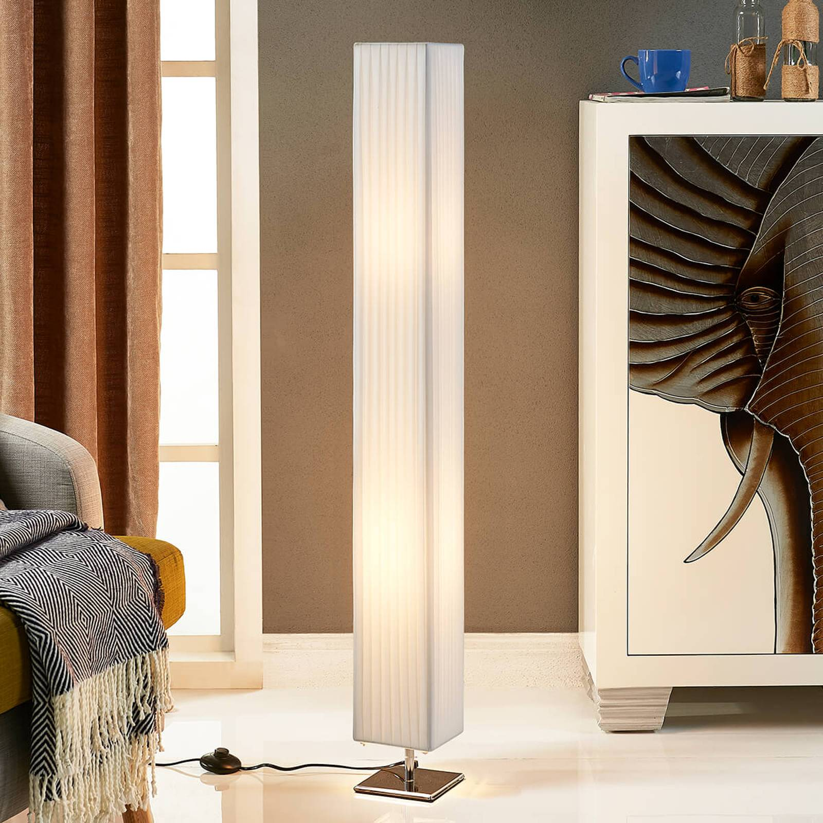 White fabric floor lamp Janno from Lindby