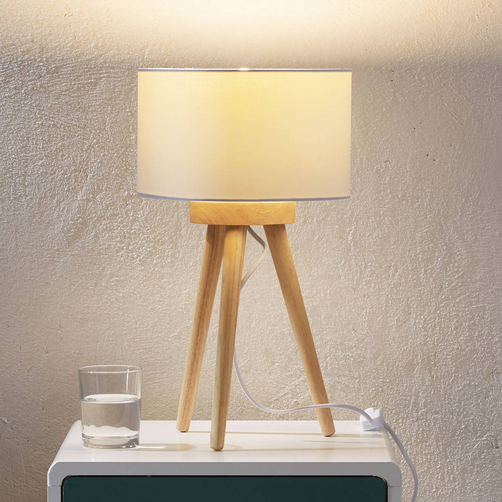 Wooden table lamp Charlia with white fabric shade from LAMPENWELT.COM