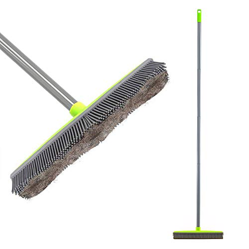 Push Broom Long Handle Rubber Bristles Sweeper Squeegee Edge 59 inches Scratch Free Bristle Broom for Pet Cat Dog Hair Carpet Hardwood Tile Windows Clean Water Resistant (Multi Segment Handle) from Lanhope