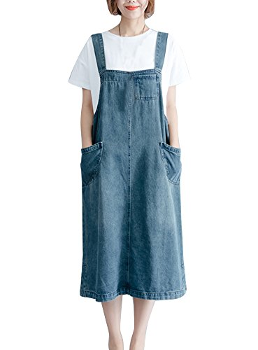 Womens Denim Pinafore Dress Elegant Casual Skirt Long Vest Dress Loose Fit Denim Blue L from LaoZanA