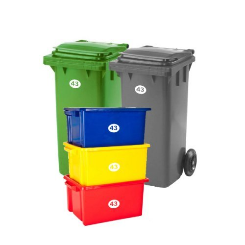 SET OF 5 Wheelie Bin Box Crate Number and Letter Stickers from Laserables