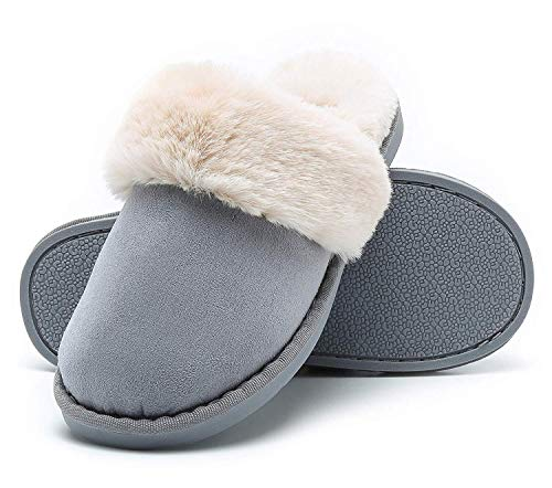 Women Men Slipper Memory Foam Fluffy Slip-on House Suede Fur Lined/Anti-Skid Sole Indoor & Outdoor -  Blue 06 -  5.5/6.5 UK - 280(42-43) from Misolin