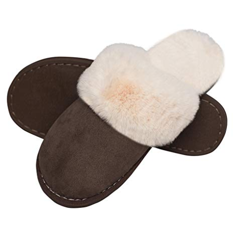 Women Men Slipper Memory Foam Fluffy Slip-on House Suede Fur Lined/Anti-Skid Sole Indoor & Outdoor -  Deep Brown 06 -  7/8 UK - 290(44-45) from Misolin