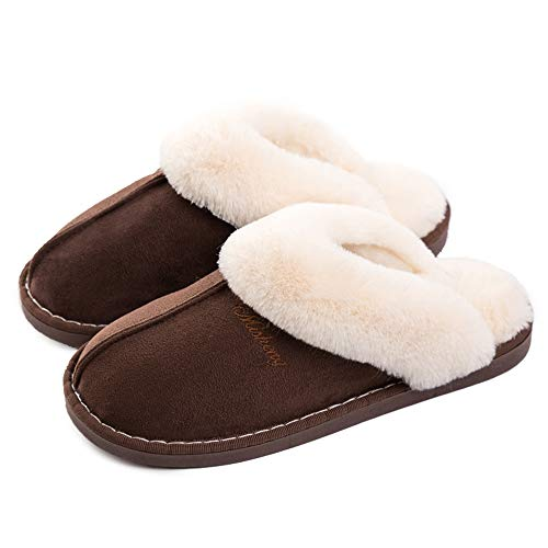 f15221036 Womens Slipper Memory Foam Fluffy Slip-on House Suede Fur Lined Anti-Skid
