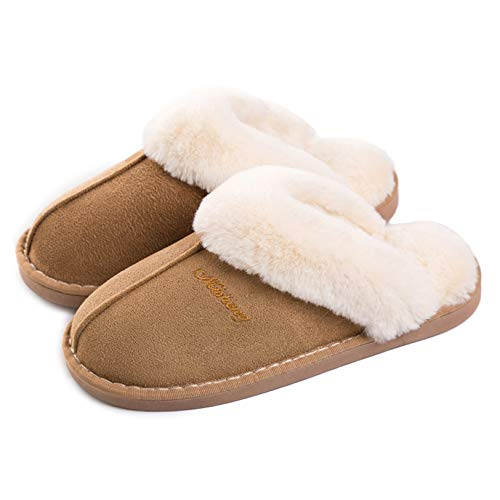 Women Men Slipper Memory Foam Fluffy Slip-on House Suede Fur Lined/Anti-Skid Sole Indoor & Outdoor -  Light Brown -  5.5/6.5 UK - 280(42-43) from Misolin