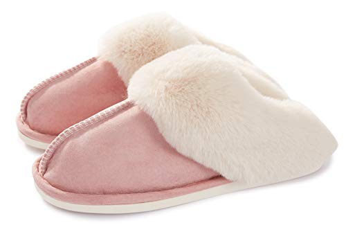 Women Men Slipper Memory Foam Fluffy Slip-on House Suede Fur Lined/Anti-Skid Sole Indoor & Outdoor -  Pink 05 -  3.5/5 UK - 270(40-41) from Misolin