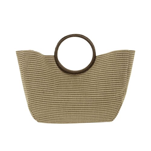 Lazy Beach Bag Natural Jute Blend Holiday Shopper Brown Stripe Rigid Round Handles Magnetic Clip from Lazy Beach Bag