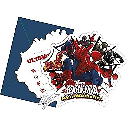 Unique Party 71475 - Web Warriors Ultimate Spider-Man Party Invitations, Pack of 6 from Unique Party