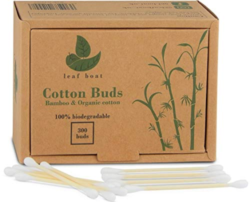 Bamboo Cotton Buds | 1 box (300 buds) | GOTS Certified Organic | Compostable & Biodegradable | Wooden Ear Swabs | Eco Friendly | Plastic Free | Sustainable Materials | Vegan | Recycled Packaging (300) from leaf boat