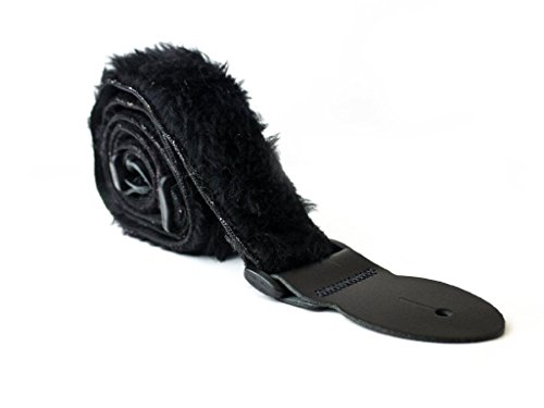 LeatherGraft Dark Jet Black Fluffy Furry Fur Shaggy Rock Electric Acoustic Bass Guitar Strap from Leathergraft