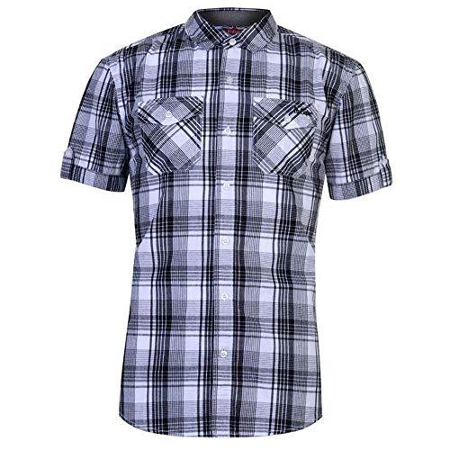 09889fb6b Lee Cooper Mens Chest Pockets Short Sleeve Checked Cotton Shirt Top (Extra  Large, White