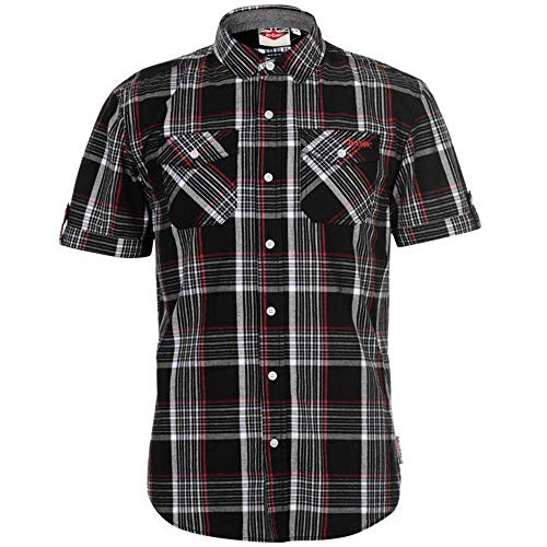 47459c9a Lee Cooper Mens Chest Pockets Short Sleeve Checked Cotton Shirt Top (Large,  Black/