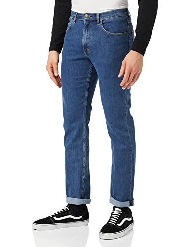 Lee Men's Brooklyn Straight Jeans, Blue Mid Stonewash, 34W 32L UK from Lee