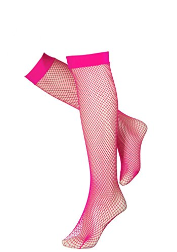Leg Avenue One Size Neon Pink Women's Lycra Fishnet Knee Highs with Back Seam from Leg Avenue