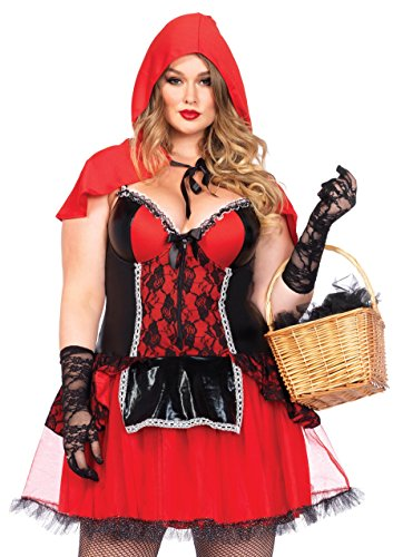 Leg Avenue Shapewear Costume Riding Hood Costume (Size 1X - 2X, Black/Red) from Leg Avenue