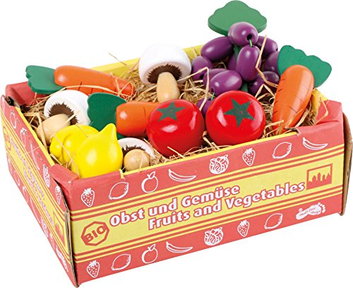 small foot 1756 market crate of vegetables, accessories for grocery store, mushrooms, carrots, tomatoes, lemons, grapes from Legler
