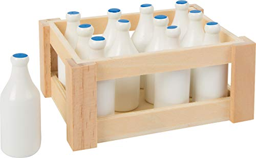 small foot 7062 wooden mini milk bottles, in a nostalgic wooden box, set of 12, from 3 years old from Legler