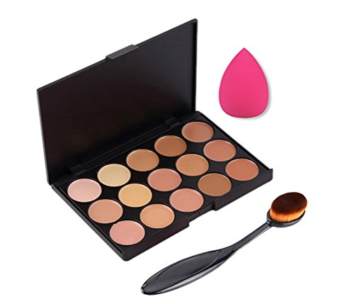Leisial 15 Colours Concealer Palette Set + Brush + Power Puff Pro Cosmetic Makeup Cleaning Face Tool Sponge-Face Powder for Makeup Beauty Nude Look Heavy Makeup from Leisial