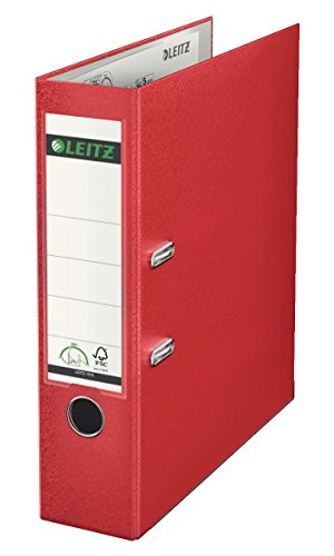 Leitz Lever Arch File, Red, Plastic, A4, 8 cm spine, 10100025 from Leitz