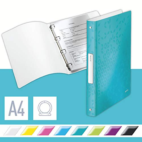 Leitz 4 Ring Binder, Holds up to 190 Sheets, Wow Range, , 25 mm Spine, 42580051 - A4, Ice Blue from Leitz