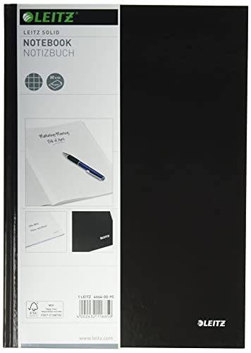 Leitz A4 Hard Covered Notebook, Squared, 90 gsm Ivory Paper, Solid Range, Black, 80 Sheets from Leitz