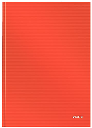 Leitz A4 Hard Covered Notebook, Ruled, 90 gsm Ivory Paper, Solid Range, Light Red, 80 Sheets from Leitz