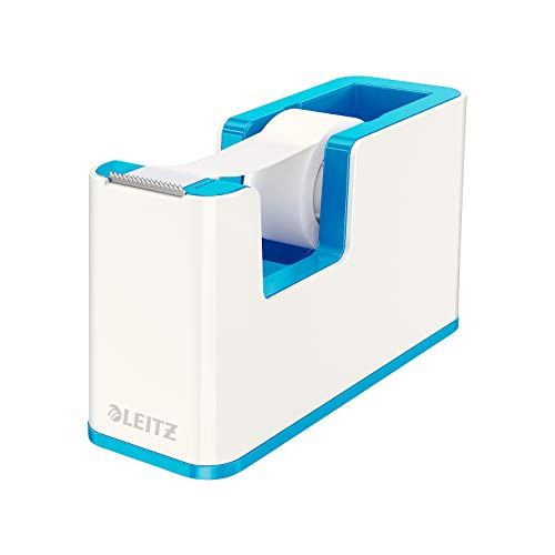 Leitz Tape Dispenser, Heavy Base with Tape, Wow Range, White/Metallic Blue from Leitz