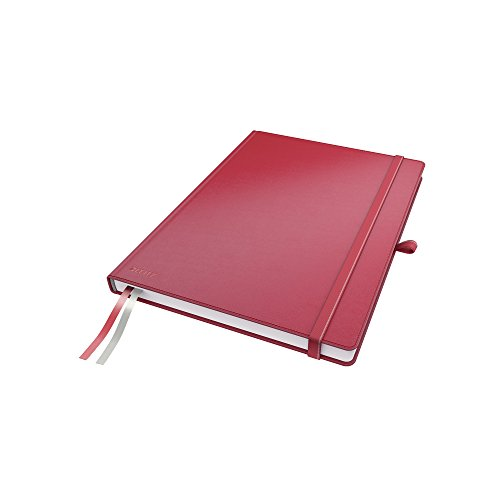 Leitz 44720025 A4 Hard Cover Notebook, Red (80 Sheets, Ruled, with 2 Bookmarks, 100 gsm Ivory Paper, Complete Range) from Leitz