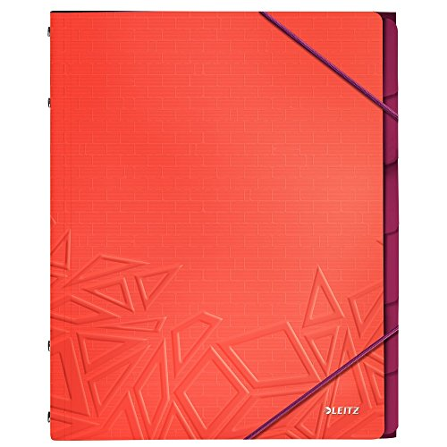 Leitz A4 Divider Book, Holds Up to 200 Sheets, Integrated Index with 6 Compartments, Elastic Closure, Red, Urban Chic Range, 39490024 from Leitz