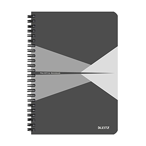 Leitz A5 Stiff Cover Notebook, Grey (Wire Bound, 90 Sheets, Ruled, 1 Bookmark, 90 gsm Ivory Paper, Office Range) from Leitz